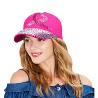 chapeaux chapeaux rebord de baseball achat en gros de-Casquette de baseball en cristal pour les femmes cancer du sein conscience ruban ruban chapeau strass casquettes Snapback Rivet New Hat 2017 marque