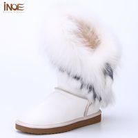 Wholesale Wool Lined Snow Boots - INOE sheepskin leather wool fur lined rabbit fox fur tassels fashion girls winter snow boots for women winter shoes waterproof