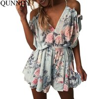 Donne Donne Short Jumpsuits profondo V Nizza Backless Off spalla sciolti Playsuit Stampa floreale Stampa Rompers Body Plus Overall Size q170716