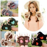 Wholesale gloves cat cosplay for sale - 2017 New Women Girls Colors Winter Warm Fluffy Plush Mittens Cat Bear Paw Claw Glove for Party Cosplay