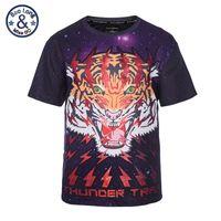Wholesale Tiger Galaxy Sweatshirt - Big weight peoples t-shirts angry tiger big head printing galaxy O-neck loose tee smooth material 3d print big size sweatshirts