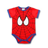 Wholesale Baby Superman Jumpsuit - Newborn Baby Boy Clothes Superman Romper Suit Toddler Baby Clothing Cartoon Spiderman Onesies Batman Infant Bodysuit New Next Kids Jumpsuit
