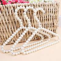 Wholesale white lingerie skirt - White Pearl Pet Clothes Rack Teddy Dog Clothes Hangers Pearl Hangers for Baby Infant Fashion Pearl Hanger 20 p l