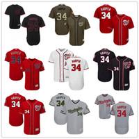 Wholesale Navy White Stripe - Washington Nationals #34 Bryce Harper White Navy Blue Gray Red Fashion Stars Stripes Majestic MLB Baseball Jerseys Cheap Free shipping