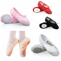Wholesale ballet shoes girls - Women Kids Ballet Dance Shoes Canvas Black Pink Red White Children Ballet Dancing Shoes For Girls Boys Casual Shoes free fast shipping