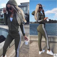 Wholesale Baseball Hoodie For Women - 2017 Fashion Tracksuit For Women 2 piece Sets Autumn Winter Side Striped Long Sleeve Hoodies Tops+Long Pant Women's Suit