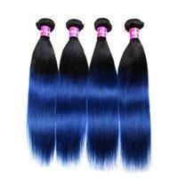 insan saçı iki renkli uzatma toptan satış-Ombre Örgü Saç Demeti Iki ton Renk ombre 1b mavi düz Işlenmemiş düz Brezilyalı Perulu Hint Ombre İnsan saç uzantıları
