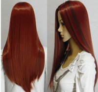 Wholesale small cap wigs - vogue long red mixed straight women's Human-made hair wig wigs+cap