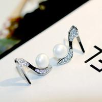 Wholesale Heels Earrings - S925 Silver Pin Unique Design High heels Shape Stud Earrings for Women 2017 New Fashion Pearl Cubic Zirconia Fine Jewelry