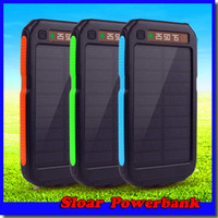 Wholesale External Battery Retail - 20000mAh 2 USB Port Solar Power Bank Charger External Backup Battery With Retail Box For iPhone 7 Samsung S6edge Mobile Phone