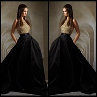 Wholesale Green Ruffle Satin Top - 2017 Hot Sale Black Satin A Line Prom Dresses Gold Top Sequins Custom made A Line Sweep Train Elegant Two Pieces Dress Evening Dress