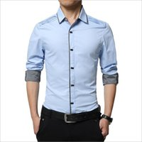 Wholesale Men Casual Shirts White - Wholesale- Fashion Brand Men Shirt Cotton Male Dress Shirt Solid White Business Casual Shirts Men England Style Formal Camisa Slim Fit 2016