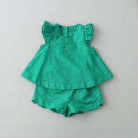 Wholesale retail girl shirt for sale - Group buy Retail Summer New Girl Sets Flare Sleeveless T shirts Wave Bottom Shorts Two Piece Casual Outfits Children Clothes Y AZ839