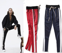Wholesale Hip Hop Pants Clothes - new zipper pants hip hop Fashion jogger urban clothing red bottoms kanye FOG jogger justin bieber pants