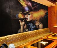Wholesale fiberglass wall coverings - 3D Sexy girl smoking disco nightclub bar KTV Cafe wall art wall covering murals-3d wall paper home decor