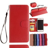 Wholesale Blackberry Leather Flip Shell - Wallet PU Leather Case For iPhone 7 7 plus Flip Book Phone Bag Cover With Card Holder Shell for iphone 5 5S SE 5C 6 6S Plus Lichee patterns
