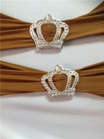 Wholesale Sashes Buckles - High Quality Plastic Buckle Round Crown Heart Shape 500pcs lot For Wedding Cover Chair Spandex Decoration Buckles For Band Chair Sashes