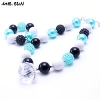 MHS.SUN Aqua Blue + Black Color Kid Chunky NecklaceBracelet Set Новый дизайн Детский детский малыш Bubblegum Chunky Bead Necklace Jewelry Set