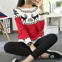 Wholesale Snowflake Jumper - Wholesale-2017 Women's Christmas Reindeer Snowflakes Sweater Pullover Red All Wrapped Up Ugly New Year Christmas Sweater Jumper Pull Femme