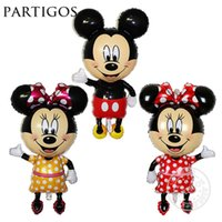 Wholesale Large cm Minnie Mickey Mouse Foil Balloon Standing Mickey Baby Shower Birthday Party Decoration Supplies Globos