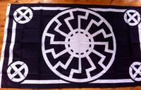 Wholesale black sun flag - Black Sun Flag 90 x 150 cm Polyester Kolovrat Slavic Symbol Sun Wheel Svarog Solstice Runes Banner