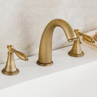 Wholesale Wholesale Copper Sinks - Bathroom Sink Faucets Antique Copper Basin Faucet Traditional With Ceramic Valve With Two Handles Three Holes For Bathroom Kitchen