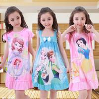 Wholesale Mermaid Suspenders - Summer Girls Cartoon Clothing Kids Elsa Anna Mermaid Suspender Pajamas Princess Dress Baby Girls Printed Bow Nightgowns