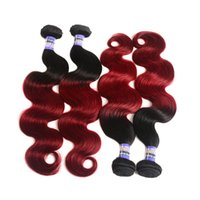 Wholesale Two Tone Colored Hair Extension - Ombre Peruvian Hair Bundles body wave 1b Burgundy 99j Human Hair Weave Two Tone Colored Red Hair Wefts Extensions