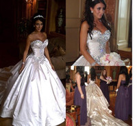 Wholesale Real Pnina Tornai Wedding Dresses - New Pnina Tornai Wedding Dresses Ball Gowns Sweetheart Ivory Sparkly Crystal Beaded Lace Up Cathedral Train Church Bridal Gowns