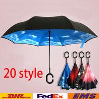 Wholesale Free Style Reverse - New Style Inverted Umbrella Double Layer Inverted Umbrella Reverse Rainy Sunny Umbrella with C Hook HandleSelf Special Design WX-U02