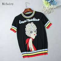 Wholesale Girls Short Sleeve Sweater - Free Shipping 2017 Black Short Sleeves Women's Pullovers Letter Daisy Girls Jacquard High Quality Women's Sweaters S061705