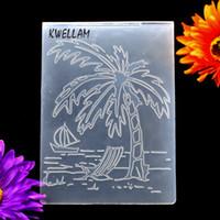 Wholesale Sailboat Card - Wholesale- Coconut Tree Beach Sailboat Plastic Embossing Folder For Scrapbook DIY Album Card Tool Plastic Template 10.6x14.5cm KW6121506