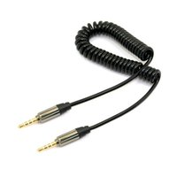 Wholesale Pos Dhl - 200pcs  lots Car Audio AUX Lin in 3.5mm male to 3.5mm male 4 Pos. stretch cable 50cm Black ,By UPS Fedex DHL