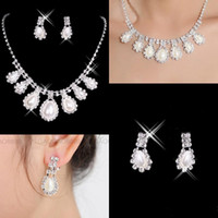 Wholesale Silver Rhinestone Necklace Set Pearl - 2017 in stock Cheap New Styles Statement Necklaces Pearl Sets Bridesmaids Jewelry Lady Women's Prom Party Fashion Jewelry Earrings 15040