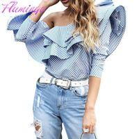 Wholesale One Shoulder Women Top - Women One Shoulder Ruffles Blouse Slash Neck Fashion Top Sexy Shirt Casual Blue Striped Shirts Long Sleeve Cool Blouse Blusas