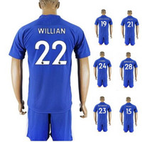 Wholesale Cheap Jerseys Wholesalers - Customized 17-18 home blue 22 Willian Soccer Jersey With Short,Cheap mens 11 Pedro 3 MARCOS A. 29 Chalobah 10 Hazard Training Soccer Sets