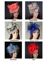 Wholesale Coloured Veils - NEW colour, fashion elegant BIG Sinamay Fascinator formal wedding dress hat with Feathers&veiling for Kentucky Derby