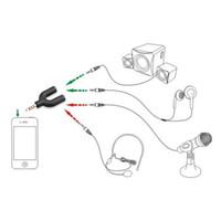 divisor de auriculares al por mayor-Conector de salida de 3.5 mm Cable divisor de audio para auriculares Macho a 2 Auriculares hembra y Cable adaptador de audio para micrófono U Tipo para teléfono inteligente MP3 MP4