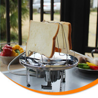 Wholesale Stainless Toaster - Wholesale- 304 Stainless Steel Camping Toaster Rack 4 Slice Toaster Tray Toast Rack Outdoor Picnic BBQ Foldable Bread & Loaf Pan