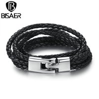 Wholesale Jewerly For Leather - Wholesale- New Arrival Black Brown Fashion Leather Bracelet Fashion Brown Punk Cuff Bracelets & Bangles for Women Men Jewerly