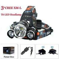 Wholesale X Zoom Flashlight - 3T6 Headlamp 6000 Lumens 3 x Cree XM-L T6 Head Lamp High Power LED Headlamp Head Torch Lamp Flashlight Head +charger+car charger ePacket