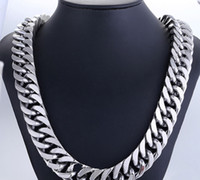 """Wholesale Curb Link Chain Necklace Men - 24"""" MEN Stainless Steel HEAVY WIDE 17x4mm Silver Cuban Curb Link Chain Necklace huge not allergic, not to tarnish never be wornAll"""