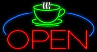"""Wholesale Green Table Restaurant - Coffee Cup Table Open Neon Sign Handcrafted Custom Real Glass Tube Bar Restaurant Bakery Pastry Store Advertising Display Neon Signs 37""""X20"""""""