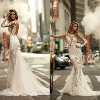 Wholesale Modest Wedding Dresses China - Berta 2017 Latest Sexy Lace Long Sleeve Mermaid Wedding Dresses Modest Backless Applique Long Bridal Gowns Custom Made From China EN0508