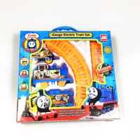 Wholesale slot track online - Train Railway Train Set toy Tomas papig classic children toys gift package for children Car Track Electric slot Educational Toy
