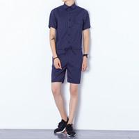 Wholesale Short Posts - 2017 Summer England Striped Men's Cotton One Piece Casual Sling Short Pants Shorts Set One Piece Set Black Bag Post