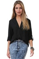 Wholesale Loose Fitting Chiffon Blouse - CRYG Newest Autumn Women Clothing Shirts V Neck Loose Fitting Chiffon Blouse Blusas Femininas Vestidos High Quality Casual Tops