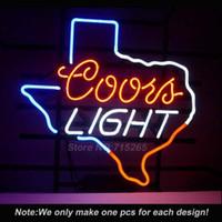 luz de néon do texas venda por atacado-Atacado-Neon Sign Coors luz Texas Lone Star sinal de luz de néon Tubo de vidro real Custom LOGO Lâmpadas Beer Bar Pub parede de vidro de luz de néon 17x14