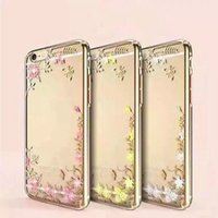 Wholesale Luxury Garden Wholesale - Luxury Bling Diamond Electroplate Frame Soft TPU Case Back Cover Secret Garden Flower Clear Cover Shell