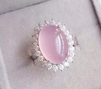 Wholesale Pink Rose Quartz Gemstone - Rose quartz ring Natural real rose quartz ring 925 sterling silver Pink gems For women or girls 8.9CT gem